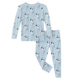 Kickee Pants LS PJ Set Illusion Blue Balloon Giraffe
