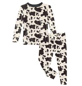 Kickee Pants LS PJ Set Cow Print