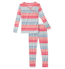 Kickee Pants LS Kimono PJ Set Cotton Candy Stripe