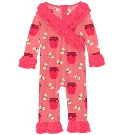 Kickee Pants LS Kimono Double Ruff Romper Strawberry Bees