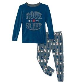 Kickee Pants LS Graphic Tee PJ Set Slate Guitars & Stars