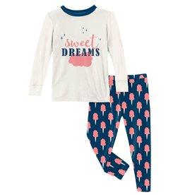 Kickee Pants LS Graphic Tee PJ Set Navy Cotton Candy