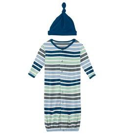 Kickee Pants Gown Conv & Hat Set Fairground Stripe