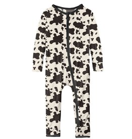 Kickee Pants Coverall w/ Zipper Cow Print