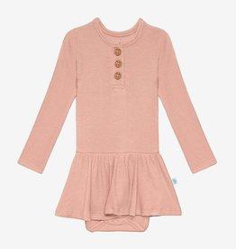 Posh Peanut Desert Rose Waffle LS Henley Twirl Skirt Bodysuit