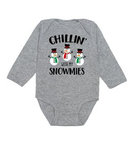Sweet Wink Chillin With My Snowmies LS Bodysuit Gray