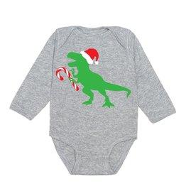 Sweet Wink Santa Dino LS Bodysuit Gray