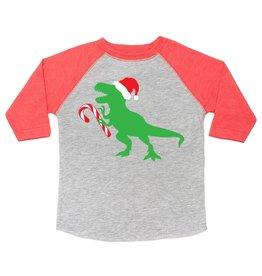 Sweet Wink Santa Dino LS Shirt Heather/Red