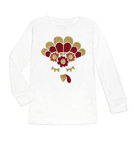 Sweet Wink Turkey Flower Crown LS Shirt White