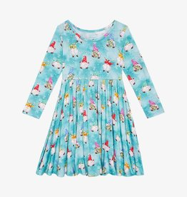 Posh Peanut Gnomey LS Basic Twirl Dress