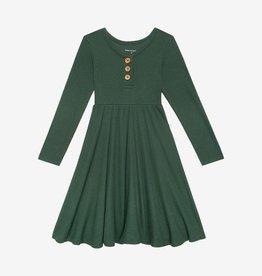 Posh Peanut Pine Waffle LS Henley Twirl Dress