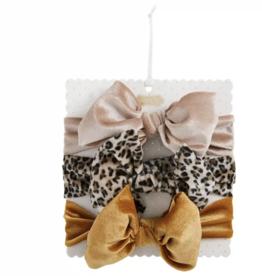 Mud Pie Brown Leopard Velvet Bow Set