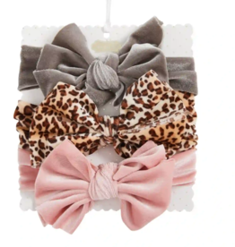 Mud Pie Grey Leopard Velvet Bow Set