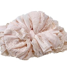 In Awe Couture Ruffle Headband Blush Gold Shimmer