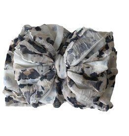 In Awe Couture Ruffle Headband Leopard White