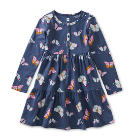 Tea Collection Tiered Henley Dress Butterfly Flurry