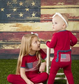 Kickee Pants Applique Coverall Crimson American Flag