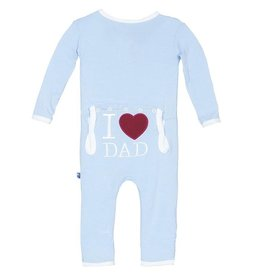 Kickee Pants I Love Dad Coverall Pond