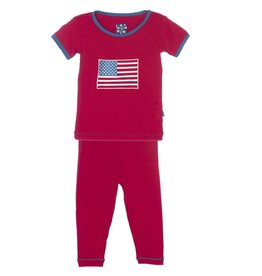 Kickee Pants S/S Applique Pajama Set American Flag