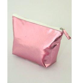 Fydelity Metallic Foil Zip Pouch Pink