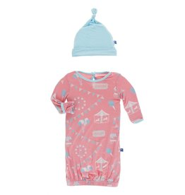 Kickee Pants Layette Gown & Knot Hat Strawberry Carnival, 0/3M