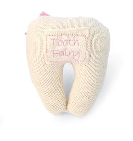 Mud Pie Pink Knit Tooth Pillow