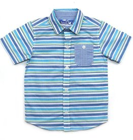 Kapital K Blue Hawaii Stripe Button-Down Shirt w/Tie
