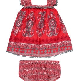 Mimi & Maggie Bohemian Paisley Dress Red