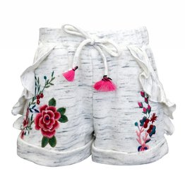 Truly Me Ivory/Grey Shorts w/Embroidered Flowers