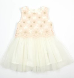 Doe A Dear Pink Daisy Lace Overlay Dress w/Tulle Skirt