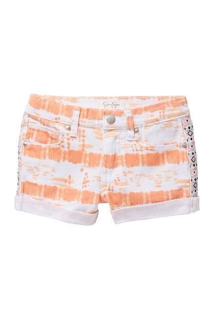 Jessica Simpson Denim Shorts Papaya Punch Tie Dye
