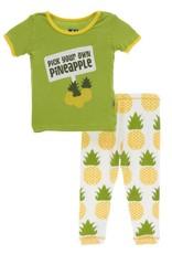 Kickee Pants S/S PJ Set Nat. Pineapple