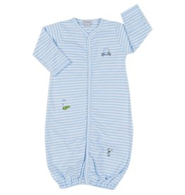 Kissy Kissy Little Railroad Stripe Converter Gown Blue
