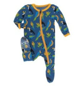 Kickee Pants Zip Footie Twilight Tropical Birds