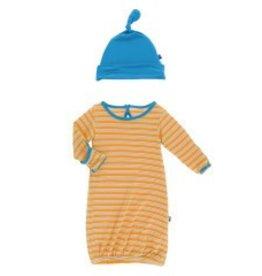 Kickee Pants Gown & Hat Tamarin Brazil Stripe