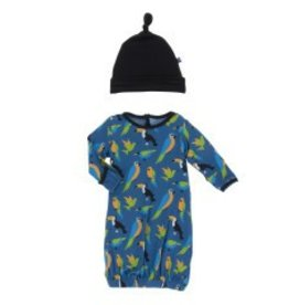 Kickee Pants Gown & Hat Twilight Tropical Birds