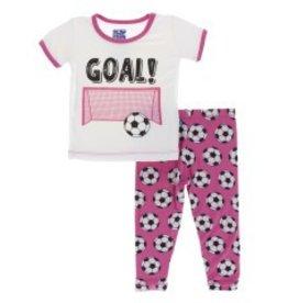 Kickee Pants S/S PJ Pant Set Flamingo Soccer