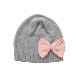Tiny Twig Knitted Beanie Grey Melange/ Soft Pink Bow, OS