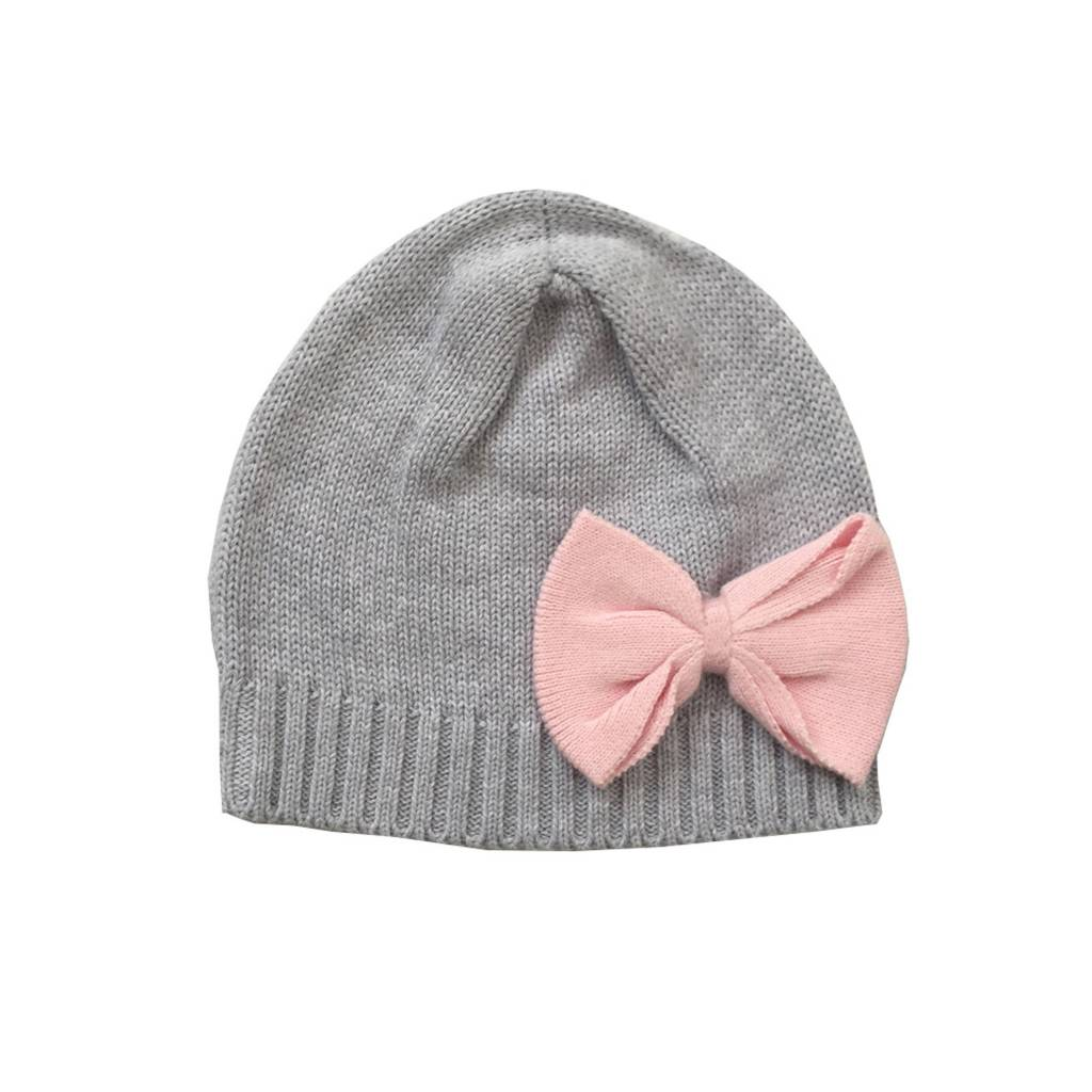 3834e6060a4 Tiny Twig Knitted Beanie Grey Melange  Soft Pink Bow