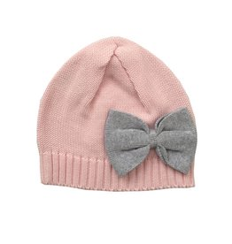 Tiny Twig Knitted Beanie Soft Pink/ Grey Melange Bow, OS