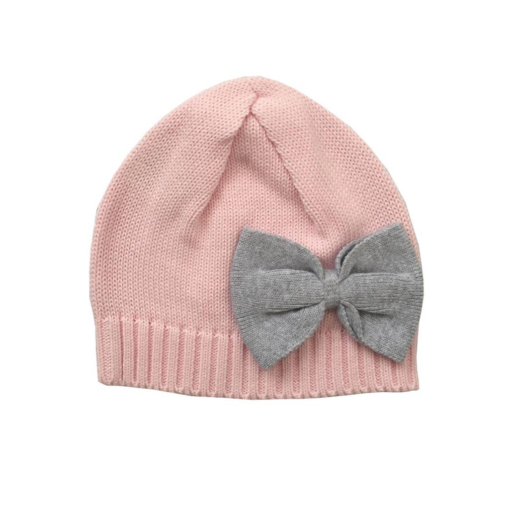 e555afce83f Tiny Twig Knitted Beanie Soft Pink  Grey Melange Bow