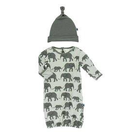 Kickee Pants Aloe Elephant Gown & Hat