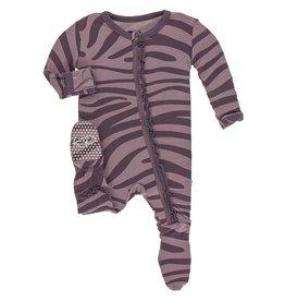 Kickee Pants Muff. Ruff. Zip Footie Elderberry Zebra