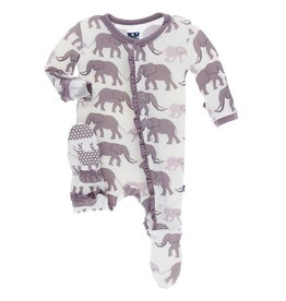 Kickee Pants Layette Ruff. Snap Footie Nat. Elephant