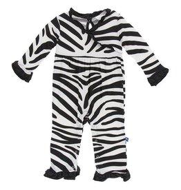 Kickee Pants Nat. Zebra L/S Kimono Romper