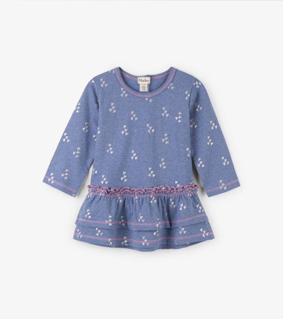 Hatley Metallic Hearts Baby Layered Dress Muscari