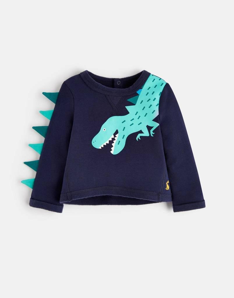 Joules Boo Novelty Sweatshirt Navy Dinosaur