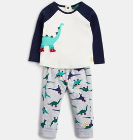 Joules Mack Novelty Top and Pants Set Navy Dinosaur