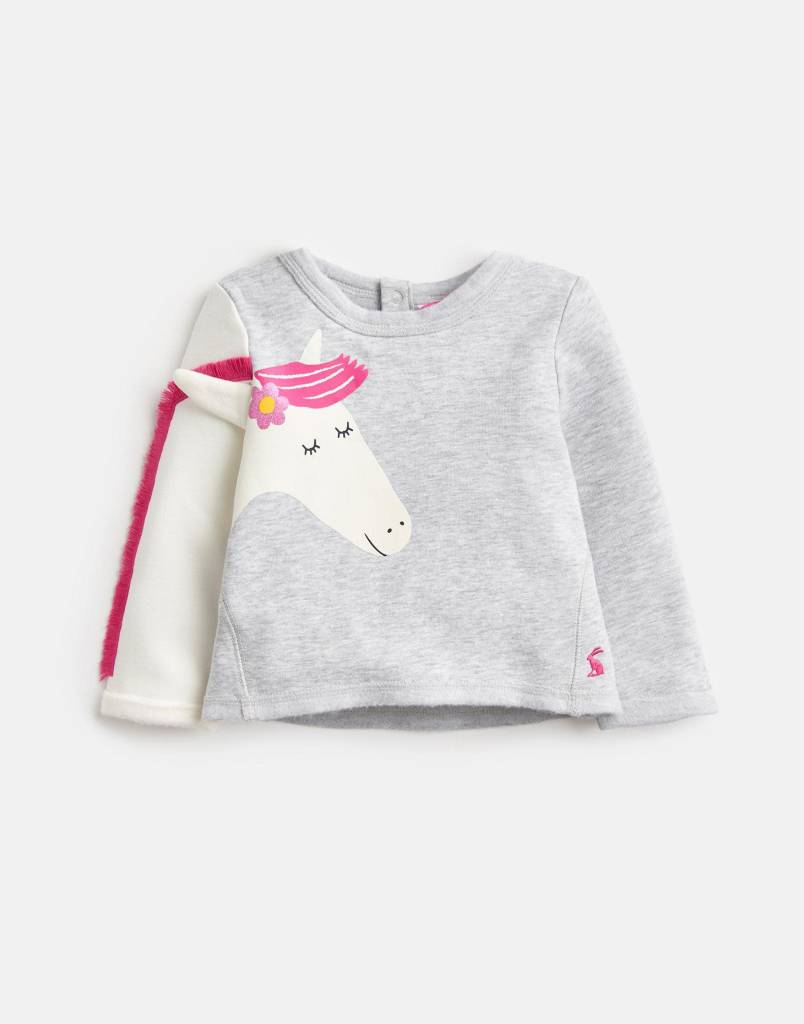 Joules Dash Novelty Sweatshirt Grey Marl Horse