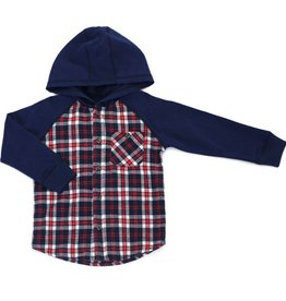 Kapital K Hooded Plaid Shirt Mulberry
